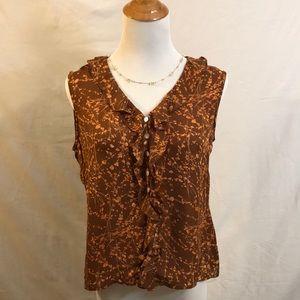 100% Silk Brown Floral Sleeveless Blouse Sz 6